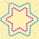 Small pink and blue hearts forming a star on a yellow background with small stars, hand drawn illustration with pastel colors vector illustration