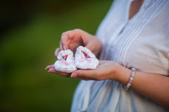 Small pink booties in the hands of mom Stock Image