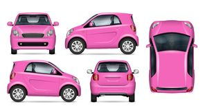 Small pink car realistic vector illustration. Pink little car vector mockup on white for vehicle branding, corporate identity. View from side, front, back, and royalty free illustration