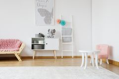 Small pink chair royalty free stock photo