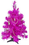 Small pink Christmas tree with decorations Royalty Free Stock Photography