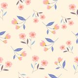 Small pink flower and leaves seamless pattern. Pink flower background royalty free illustration