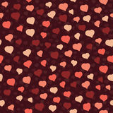 Small Pink Hearts on a Brown Background. Seamless vector pattern Stock Photo