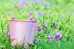 Small pink pail against grass Royalty Free Stock Photo