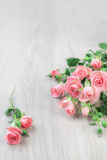 Small pink roses on wood, st. Valentine background, text space Stock Images