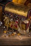 Small pirate treasure chest Stock Photo