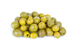Small pitted and giant olives. Isolated on the white background royalty free stock image
