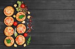 Small pizza with mozzarella chees Royalty Free Stock Photos
