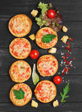 Small pizza with mozzarella chees Stock Images