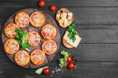 Small pizza with mozzarella cheese Stock Photography