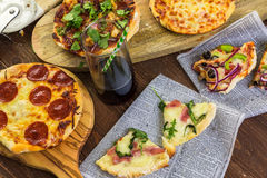 Small pizzas stock photography