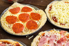 Small pizzas stock images