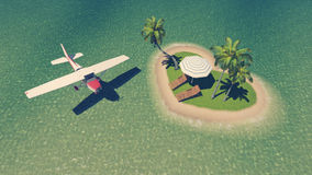 Small plane above heart shaped tropical islet Royalty Free Stock Image