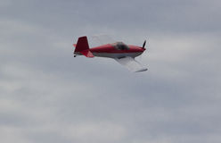 Small plane in the air. stock photo