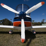 Small plane with big propeller. Frontal of small light plane Royalty Free Stock Photos