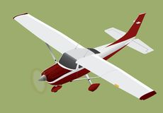 Small plane Cessna 182 flying. Small airplane, a Cessna 182 red and white flying isolated, vector royalty free illustration