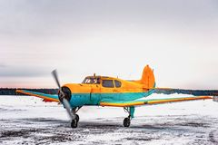 Small plane landed at the airport in winter royalty free stock photography