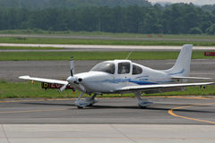Small Plane Landing 1. Small plane landing on runway Royalty Free Stock Image