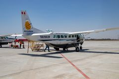Small Plane, Operated by Aerodiana. Used to Fly Tourists over the Nazca Lines in Peru royalty free stock images