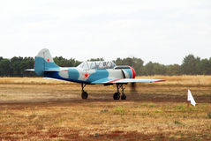 A small plane is painted as a war Soviet aircraft Stock Photos