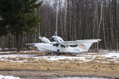 Small plane. Small parked plane, Kronstadt, Russia Royalty Free Stock Images
