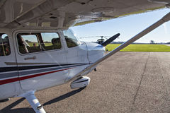 Small plane in private airport. Image of a small private airplane waiting for take off Stock Photo