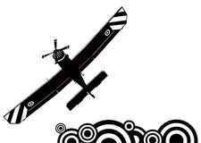 A small plane silhouette. Illustration of small propeller plane Stock Photography