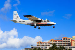 Small plane at St. Maarten. Britten Norman Islander of Anguilla Air Services landing at St. Maarten in the Caribbean Royalty Free Stock Photography