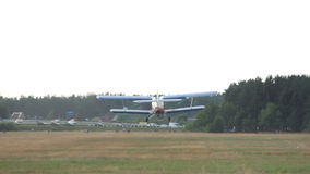 Small plane takes off from the airfield, small and rickety jet stock footage