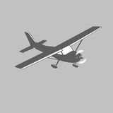 Small plane vector icon. Single engine propelled passenger aircraft. Light aircraft.  Monochrome vector illustration. Small plane vector icon. Single engine Royalty Free Stock Images