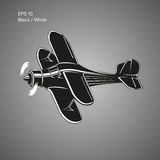 Small plane vector illustration. Single engine propelled biplane aircraft. Vector illustration. Royalty Free Stock Images