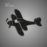 Small plane vector illustration. Single engine propelled biplane aircraft. Vector illustration. Royalty Free Stock Photo