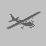 Small plane vector illustration. Single engine propelled passenger aircraft. Light aircraft.  Monochrome transparent vector. Small plane vector icon. Single Royalty Free Stock Images