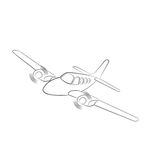Small plane vector illustration. Twin engine propelled aircraft. Vector illustration. Hand drawn sketch style Stock Image