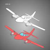 Small plane vector illustration. Twin engine propelled aircraft. Vector illustration. Hand drawn sketch style Royalty Free Stock Image