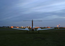 Small plane waiting to take off. At dusk royalty free stock photos