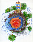 Small planet 2. Small planet with big loving heart. Crayon drawing Stock Photos