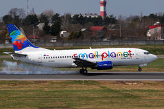 Small Planet Airlines. Boeing 737 landing in Vilnius Intl Airport Royalty Free Stock Image