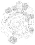 Small planet - contour. Small planet with big loving heart. Pencil drawing Stock Image