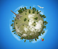 Small planet with Eiffel Tower vector illustration