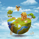 Small planet. On half of the globe with boy in sky Stock Photo