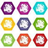 Small planet icon set color hexahedron Stock Images