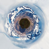 Small planet image. Mountains. Royalty Free Stock Images