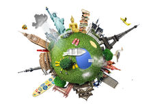 Small planet with landmarks Stock Image