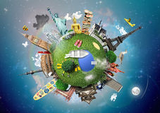 Small planet with landmarks Stock Images