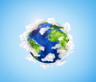 Small planet with oceans Royalty Free Stock Images