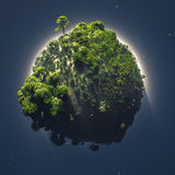 Small planet with vegetation. Surrounded by fog Stock Images