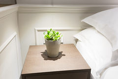 Small plant in flowerpot on a night table next to a bed Royalty Free Stock Photography
