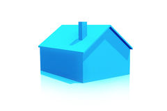 Small Plastic Blue House 3D Icon on White Background Royalty Free Stock Images
