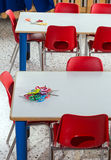 Small plastic chairs in the nursery kindergarten class Royalty Free Stock Photo